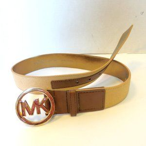 Michael Kors Calf Leather Logo Belt SZ S
